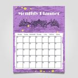 Colorful grunge monthly planner template design. Organizer calendar template, vector illustration Royalty Free Stock Images
