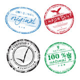Colorful grunge rubber stamps. Abstract illustration with four grunge office rubber stamps with the words important, original, hundred percent natural and Stock Photography