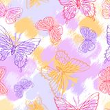 Colorful grunge seamless pattern with butterfly Stock Photo