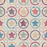 Colorful grunge stars. Seamless pattern with cracked stars Stock Photos