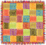Colorful grunge striped patchwork  carpet with fringe Stock Photo