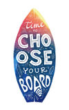 Colorful grunge surfing board shape with hand-drawn lettering on it Stock Photo
