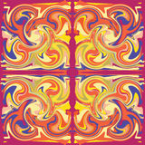 Colorful grunge swirled seamless ornamental patter. N in red,purple,orange,yellow colors Stock Photo