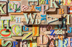 Colorful grungy alphabet letter collage. Collage made of colorful alphabet letters Stock Image