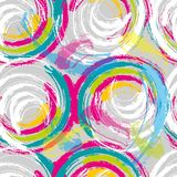 Colorful grungy circles seamless pattern design. Vibrant colorful dry brush texture circular strokes abstract seamless pattern design Stock Illustration
