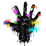 Colorful grungy human palm dripping paint background. Isolated colorful grungy human palm dripping paint on white background Royalty Free Stock Photo