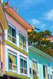 Colorful Guayaquil, Ecuador. Facades of colorful buildings in the historic Las Penas neighborhood in Guayaquil, Ecuador stock photo