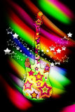 Colorful guitar. With stars on a bright background Stock Image