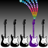 Colorful guitar music Stock Image