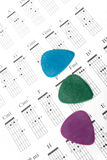 Colorful guitar picks on a chords chart Stock Photography