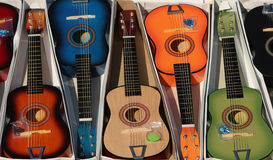 Colorful guitars. Collection of colorful (brown, blue, orange, brown, black, green) guitars Royalty Free Stock Images