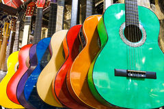Colorful guitars on the Istanbul Grand Bazaar. Stock Photos
