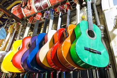 Colorful guitars on the Istanbul Grand Bazaar. Stock Images