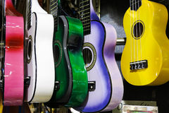 Colorful guitars on the Istanbul Grand Bazaar. Istambul, Turkey royalty free stock image