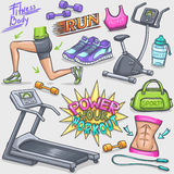 Colorful gum and fitness doodles Stock Photography