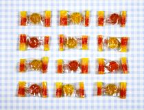Colorful Gummy Bear Candy  on checkered background.  Stock Image