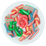 Colorful gummy candy (licorice) sweets on a plate Stock Photo