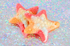 Colorful gummy sweet stars Stock Images