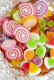 The colorful gummy yummy. Mixed shape of gummy in foil Stock Photo