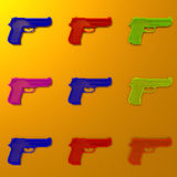 Colorful gun framework low-poly illustration. Low poly gun framework illustration pattern, pop art style Royalty Free Stock Images
