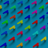 Colorful guns framework low-poly illustration pattern. 3d low-poly guns illustration pattern, pop art colors royalty free illustration