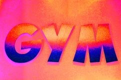 Colorful GYM sign in capital letters royalty free stock images
