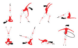 Colorful Gymnasts Set. With flexible girls exercising and training in different poses isolated vector illustration Royalty Free Stock Photo
