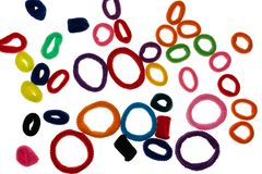 Colorful hair bands on white isolated background royalty free stock image