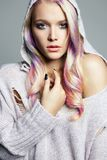 Colorful Hair beautiful girl in hood Stock Image