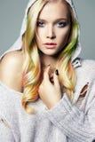 Colorful Hair beautiful girl in hood Royalty Free Stock Photo