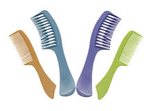 Colorful hair combs Stock Images