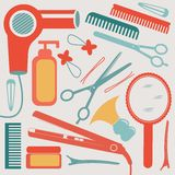A colorful hairdressing equipment collection Stock Images