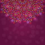 Colorful Half Mandala Decoration with Hearts Stock Photo