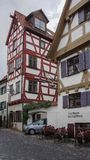 Colorful half timber houses on romantic street germany royalty free stock photos