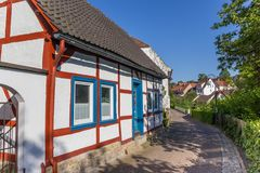 Colorful half timbered house in historic city Warburg Stock Photos