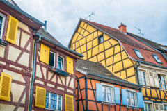 Colorful half timbered houses in alsace Royalty Free Stock Photo