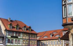 Colorful half-timbered houses at the market square of Wernigerode. Germany royalty free stock image