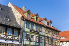 Colorful half-timbered houses at the market square of Wernigerode. Germany stock images
