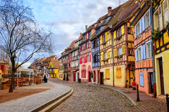 Colorful half-timbered houses in medieval town Colmar, Alsace, F Stock Photography