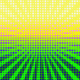 Colorful Halftone Burst. Trendy and unique bright abstract design burst of halftone pattern of lots of colorful dots or circles with yellow to green tones vector illustration