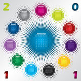 Colorful halftone calendar for year 2011 Royalty Free Stock Photography