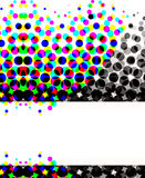Colorful Halftone Circles. Unique abstract halftone design with lots of dots and circles in colorful to gradient blacks pattern and white banner copyspace with Royalty Free Stock Photo