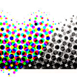 Colorful Halftone Circles. Unique abstract halftone design with lots of dots and circles in colorful to gradient blacks pattern and white banner and copyspace Stock Photography