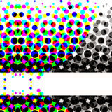 Colorful Halftone Circles. Unique abstract halftone design with lots of dots and circles in colorful to gradient blacks pattern and white banner copyspace with Stock Photo