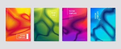 Colorful halftone flyers. Vector templates Stock Photos
