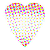 Colorful Halftone Heart. Design of a white heart made of multicolor halftone dots of different sizes and isolated on a white background stock illustration