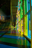Colorful hall wide. Building hall colored by sunlight passing through tinted windows, wide angle shot Stock Image