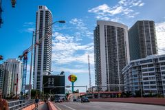 Colorful Hallandale Beach, Florida water tower and large buildings royalty free stock images