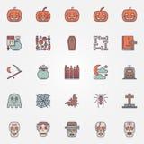 Colorful halloween icons set Stock Photo