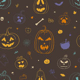 Colorful Halloween pattern with carved pumpkins. Colorful Halloween pattern. Vector seamless pattern for Halloween with carved pumpkins, autumn leaves, bat vector illustration
